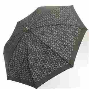 Authentic CELINE C Macadam folding Umbrella Black
