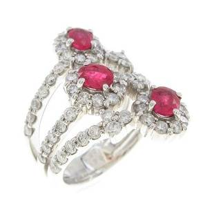 Authentic K18 White Gold Ruby ring