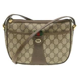 Authentic GUCCI Web Sherry Line GG Canvas Shoulder Bag