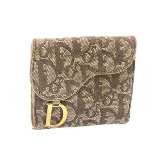 Authentic CHRISTIAN DIOR Trotter Canvas Wallet Brown