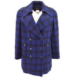 Authentic CHANEL CC Logos Long Sleeve Jacket Coat