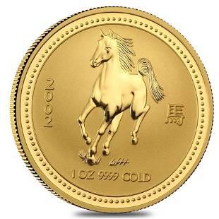 2002 1 oz Gold Lunar Year of The Horse BU Australia