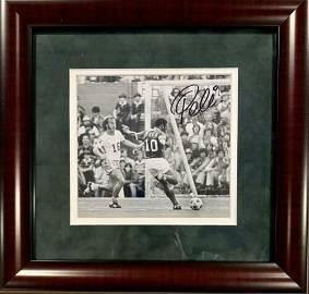 Authentic Pele Signed Original Photo Framed. 1977
