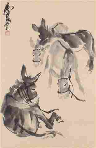 Chinese Donkey Painting On Paper, Huang Zhou Mark