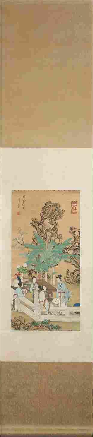 Chinese Lady Painting Silk Scroll, Tang Yin Mark