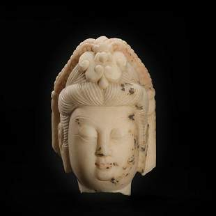 White Marble Colored Buddha Head from Northern Wei