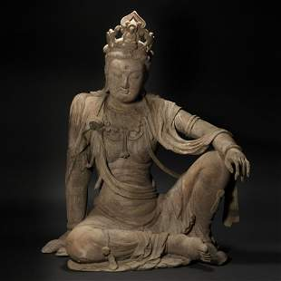 Wood Carved Avalokitesvara Statue from Song