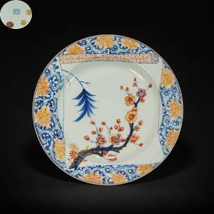 Famille Rose Floral Round Plate from Qing