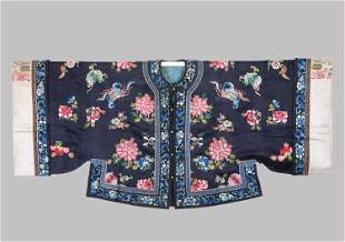 A Dark Blue-ground Silk 'Butterfly and Peony' Lady's