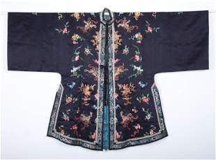 A Black-ground Silk 'Butterfly and Peony' Lady's Robe