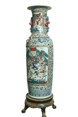 A Pair of Large Famille-Rose 'Figural' Vase