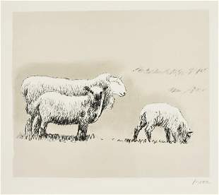 Sheep in Landscape (C. 558) by Henry Moore