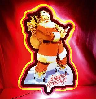 Large Coca-Cola Santa Claus Led Sign from Early 2000s