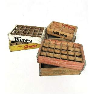 Lot of 6 Different Vintage Wooden Soda Crates