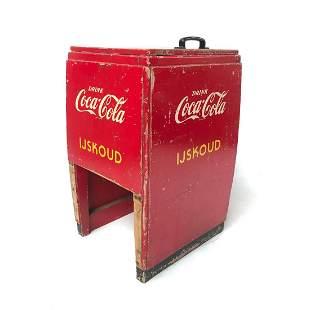 Original Vintage Dutch Wooden Coca-Cola Ice Box