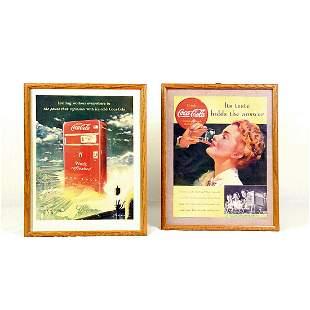 Set of 2 Coca-Cola framed advertisements