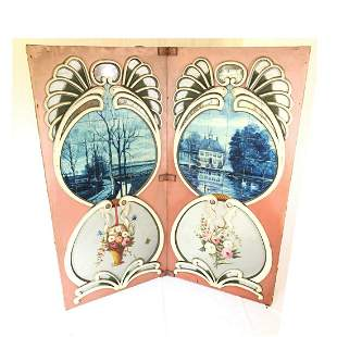 Two Piece Wooden Fairground Panel with Paintings on