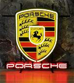 New Porsche Logo Neon Sign with Backplate