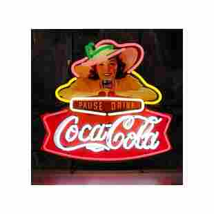 New Coca-Cola Pause Drink Neon Sign with Backplate