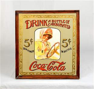 """Advertisement on mirror """"Drink a bottle of carbonated"""