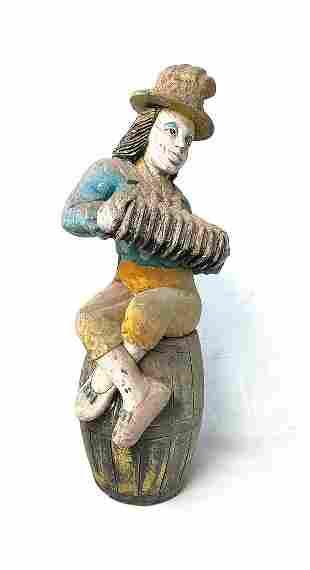 Original Vintage Wood Clown Statue