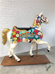 Large carousel horse with gold leaf finish ca. 1990