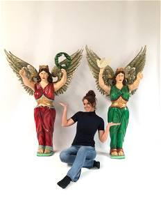 Set of 2 Large Carousel Angel Figures ca. 1970