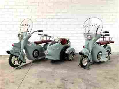 Two L'Autopede Carousel Police Scooters and a Sidecar