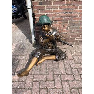 Bronze Statue of Boy Playing Flute