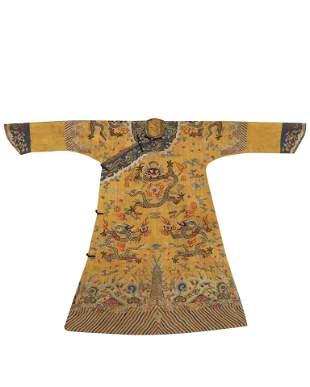 Qing Dynasty - Qianlong Silk Peacock Feather Dragon