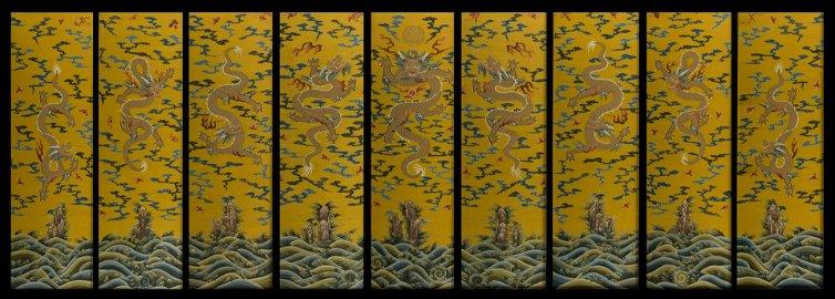 Qing Dynasty - Qianlong Silk Nine Dragon Hanging Screen