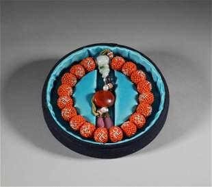 Qing Dynasty - Agarwood Coral Bead Bracelet
