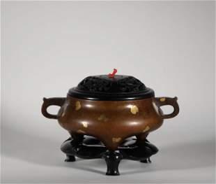Qing Dynasty - Copper Sprinkled Gold Incense Burner