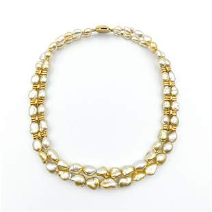 """Rare Gold Heishi Pearls Necklace 6.5-14mm 18K Gold 16"""""""