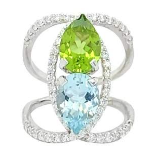 Aquamarine, Peridot, and Diamond Ring