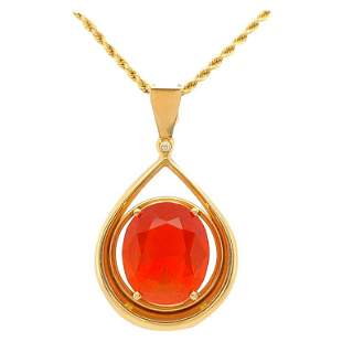 Mexican Fire Opal Pendant