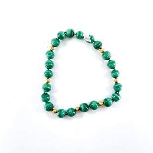 Linda Joslin Malachite Bead Necklace