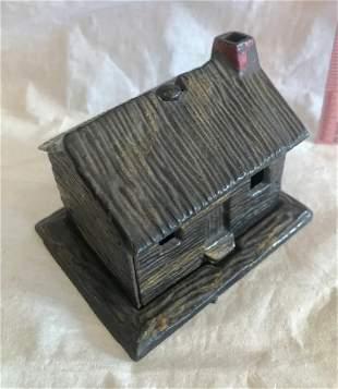 Cast Iron Log Cabin Bank 1880