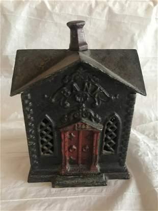 Rare Cast Iron Church Bank w/ Red Door