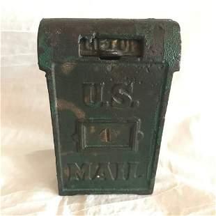 Early Cast Iron Still Bank U.S Mail