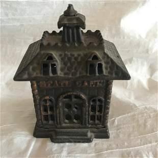 Antique Cast Iron State Bank Still Bank