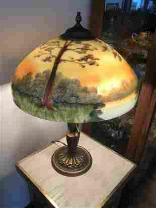 Reverse Painted Lamp Unsigned