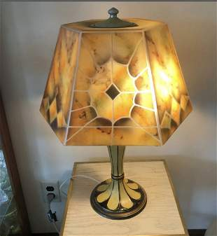 Vintage Signed Jefferson Reverse Painted Lamp