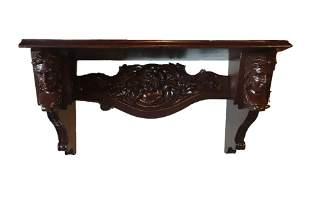 Mahogany Clock Shelf w Carved Woman's Heads