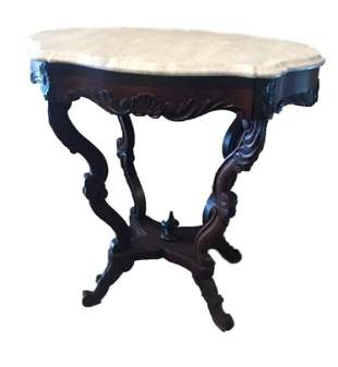 Victorian Marble Top Walnut Table