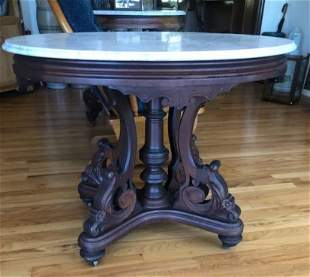 Large Victorian Marble Top Table Signed