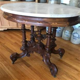 Victorian Oval Marble Top Table Thomas Brooks
