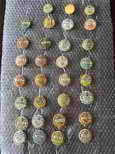Hunting, Trapping, Fishing License Pins 1924-1938
