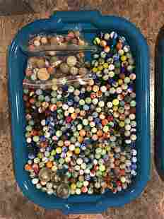 Assorted Tray of Early Marbles and Clay Marbles
