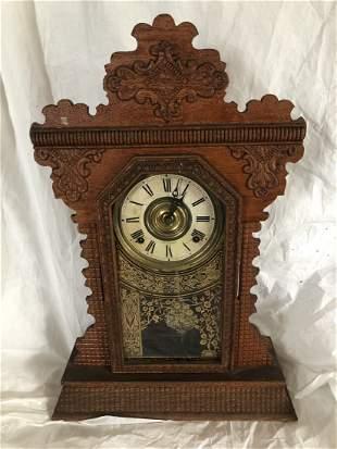 Oak Gingerbread Clock Circa 1900